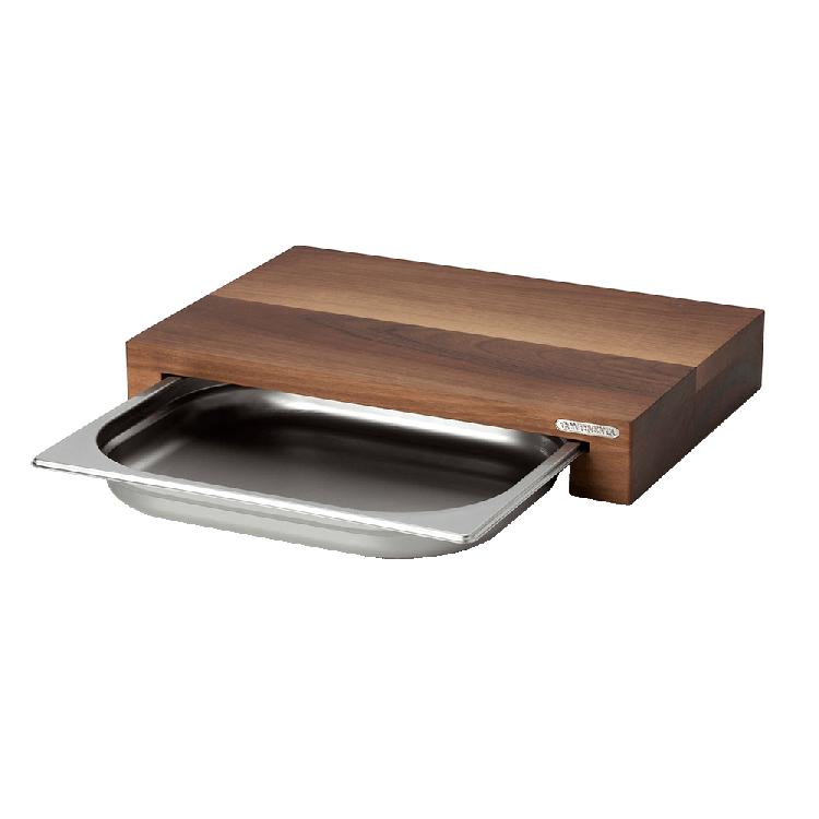 Schneidebrett  mit Edelstahl-Schublade