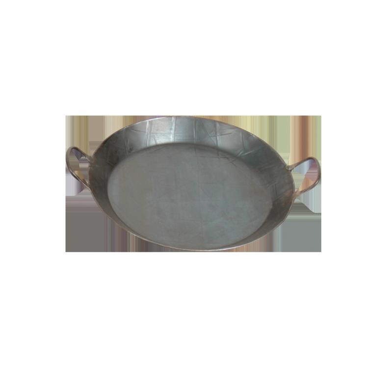 Eisenpfanne mit 2 Griffen Pfanne: Ø 31,5 cm; Boden: Ø 24 cm