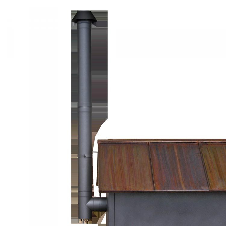 Rauchrohr-Set schwarz lackiert
