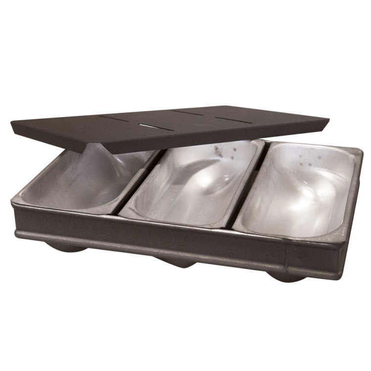 Stollenbackform mit Deckel - 3er Verband 3 Stollen je 500 g ( (245 x 360 x 70 mm)