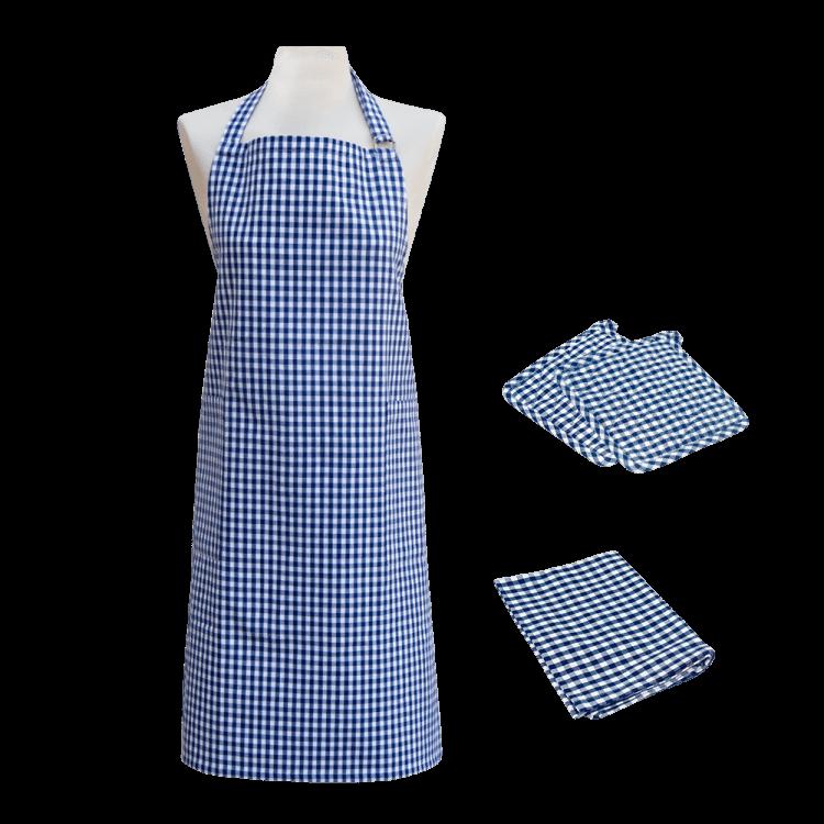 Textilien-Set kariert blau mit Topflappen