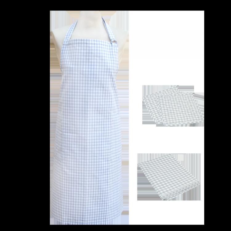 Textilien-Set kariert grau mit Topflappen