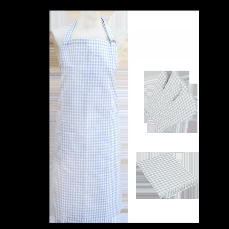 Textilien-Set kariert grau mit Handschuh
