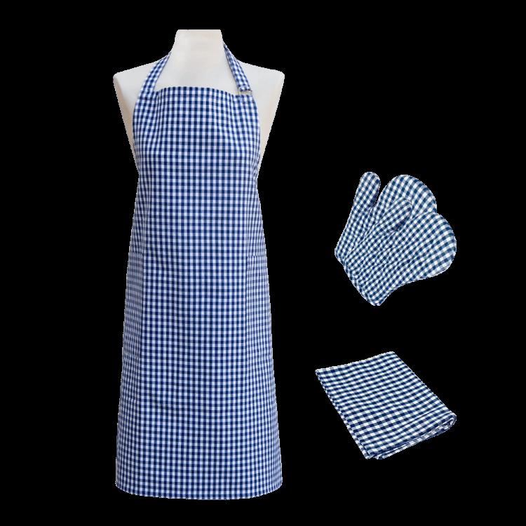 Textilien-Set kariert blau mit Handschuh