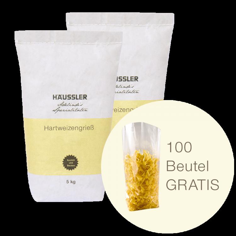 10 kg Hartweizengrieß + Gratis Nudelverpackung