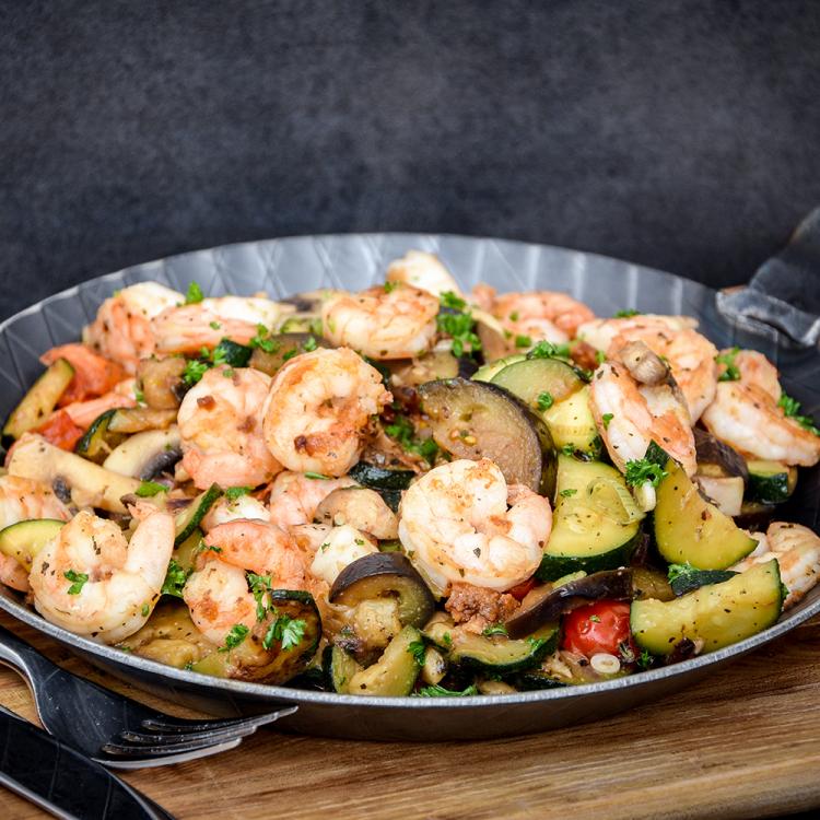 Wok-Gemüse mit Fleisch, Fisch oder Vegetarisch